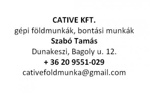 CATIVE KFT. - gépi földmunkák, bontási munkák