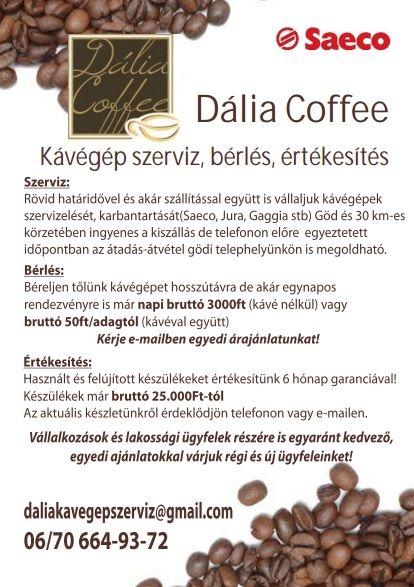 Dália Coffee Kávégép szerviz